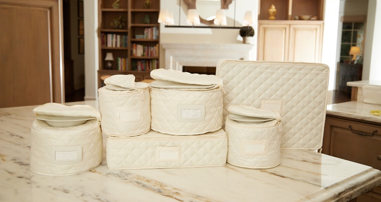 Quilted dish storage on a kitchen countertop