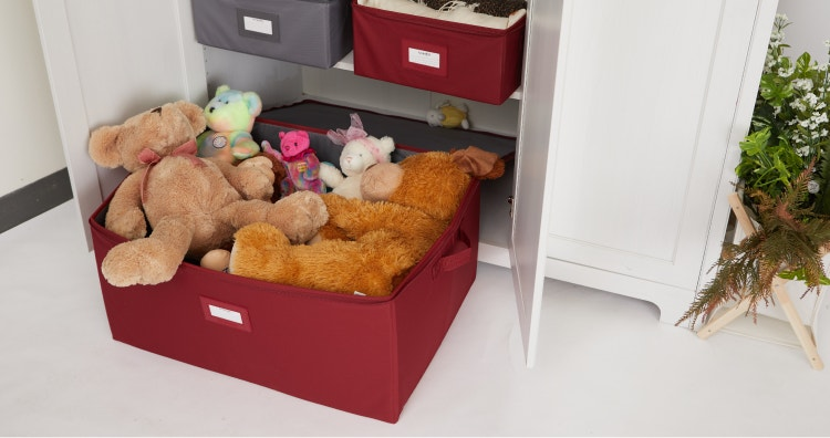 Storage box filled with toys